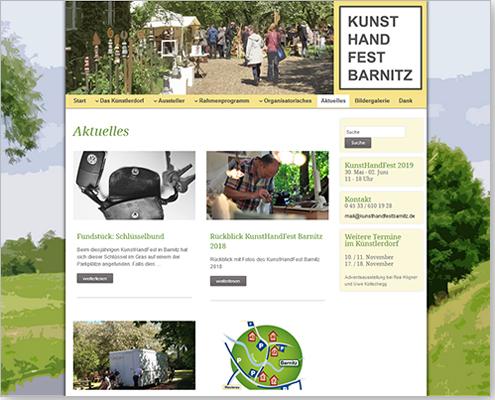Realisation und Content-Redaktion CMS: KunstHandFest Barnitz